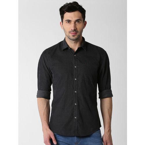 Peter England Casuals Men Black Slim Fit Self Design Casual Shirt