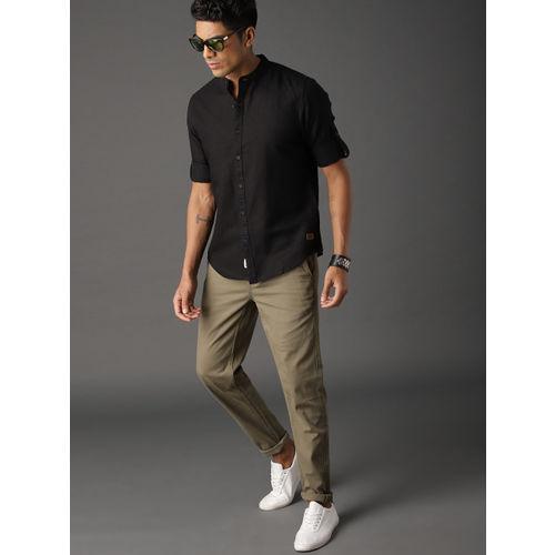 Roadster Men Black Cotton Linen Casual Shirt