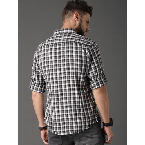 Roadster Men Black & White Regular Fit Summer Check Casual Shirt