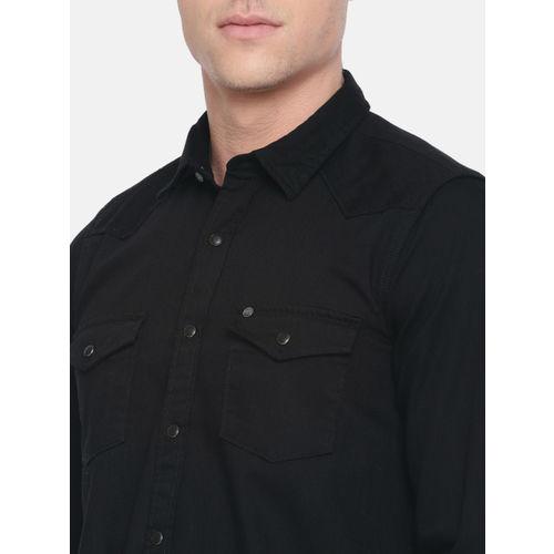 Pepe Jeans Men Black Victor Slim Fit Solid Casual Shirt