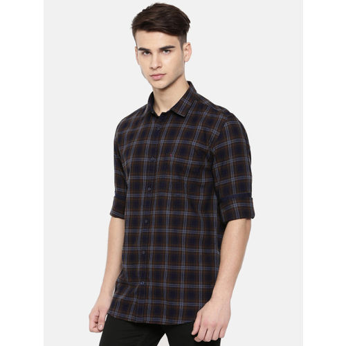 COOL COLORS Men Black & Khaki Slim Fit Checked Casual Shirt
