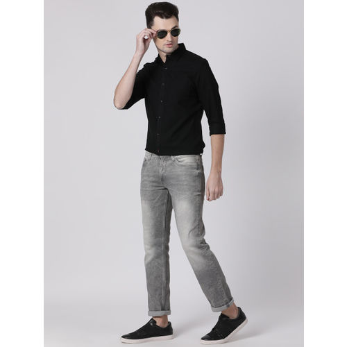 Toss Winner Men Black Regular Fit Solid Casual Shirt