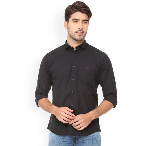 Louis Philippe Men Black Slim Fit Solid Casual Shirt