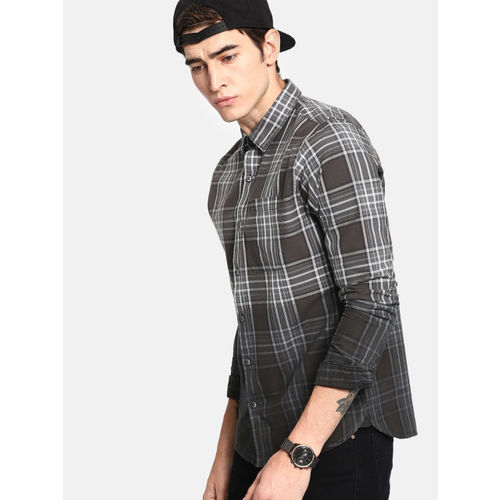 SINGLE Men Black & Grey Slim Fit Checked Casual Shirt
