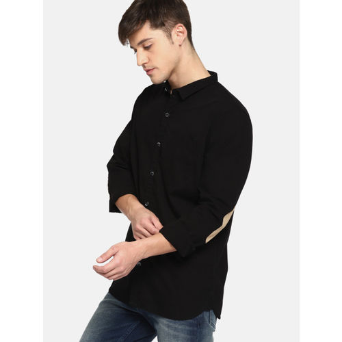 SINGLE Men Black Slim Fit Solid Casual Shirt