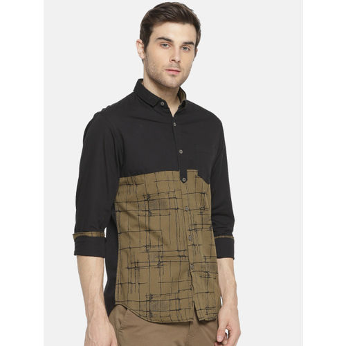 Campus Sutra Men Black Standard Regular Fit Colourblocked Casual Shirt