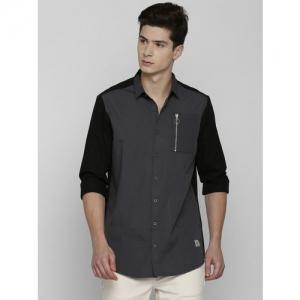 SKULT by Shahid Kapoor Men Black & Grey Regular Fit Colourblocked Casual Shirt