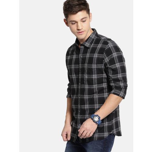 SINGLE Men Black & Charcoal Grey Slim Fit Checked Casual Shirt