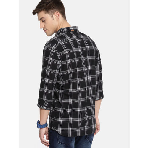 SINGLE Men Black & Charcoal Grey Slim Fit Checked Casual Shirt