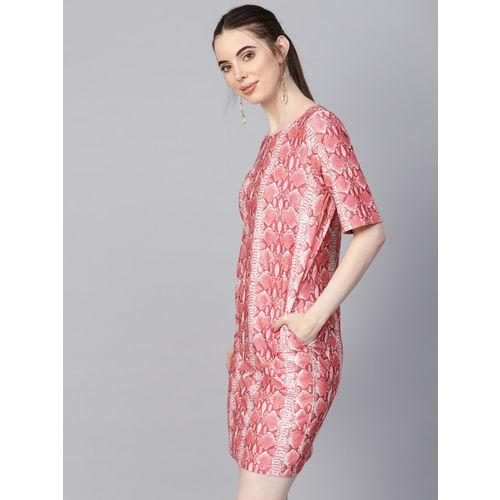 Femella Women Pink & White Sheath Printed Dress