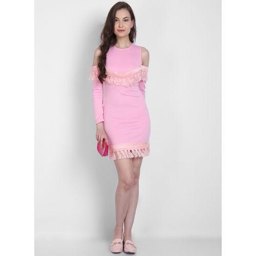 LA LOFT Pink Solid Sheath Dress