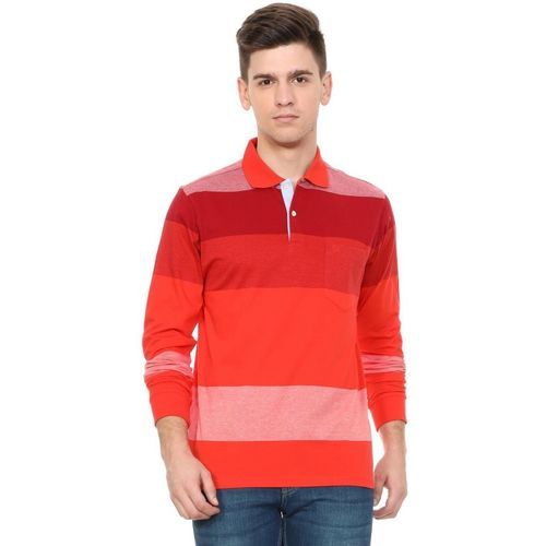 Allen Solly Broad Stripes Men Polo Neck Red T-Shirt