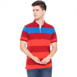 Allen Solly Color block Men Polo Neck Red, Orange T-Shirt