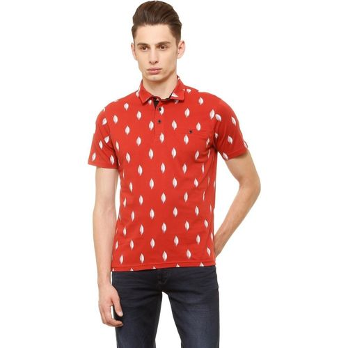 Allen Solly Printed Men Polo Neck Red T-Shirt