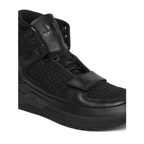 Supra Men Black Solid Textile THEORY Mid-Top Sneakers