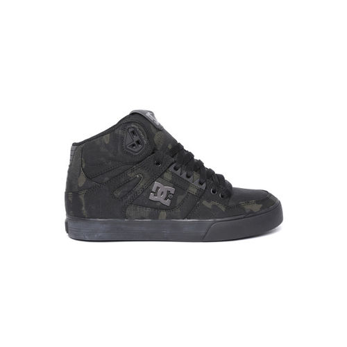 DC Men Black & Olive Green Camouflage Print Mid-Top Sneakers
