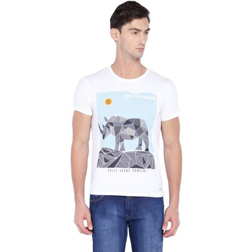 Allen Solly Printed Round or Crew White T-Shirt