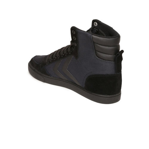 hummel Unisex Black Solid Canvas High-Top Sneakers
