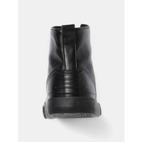 Mast & Harbour Men Black Solid High-Top Sneakers