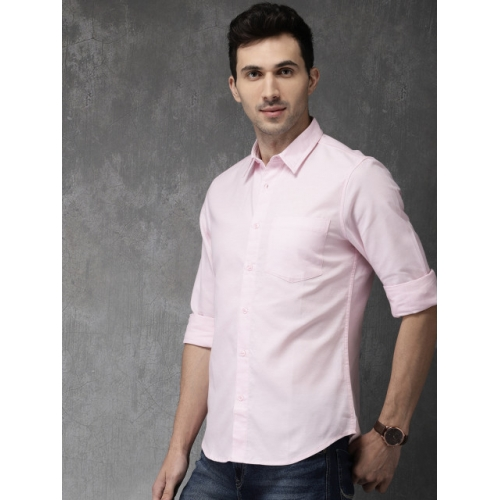 Anouk Pink Cotton Regular Fit Solid Casual Shirt
