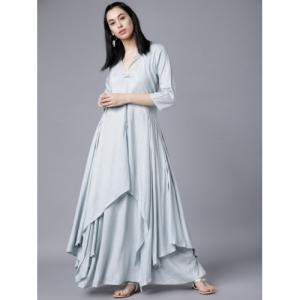 Vishudh Women Blue Solid A-Line Kurta
