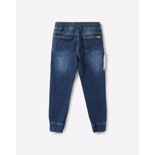 AJIO Mid-Rise Mid-Wash Joggers with Patch