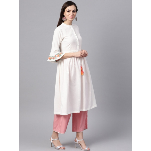 SASSAFRAS White Cotton Solid A-Line Kurta
