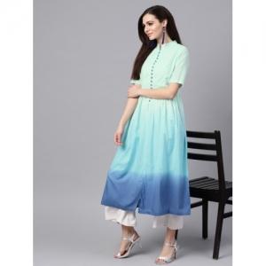 SASSAFRAS Blue Cotton Ombre Dyed A-Line Kurta