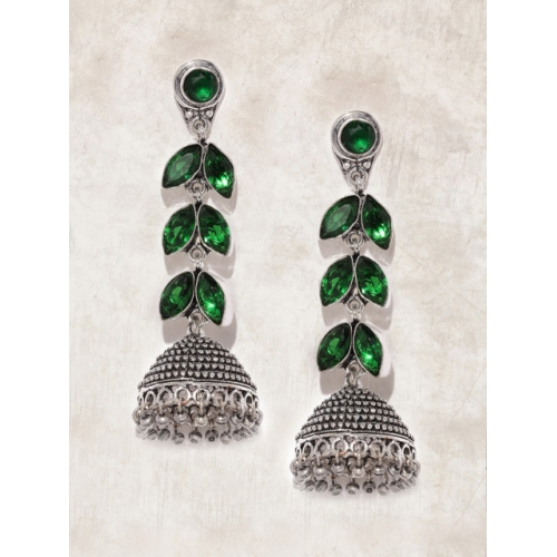 Anouk Oxidized Green Silver-Plated Dome Shaped Jhumkas