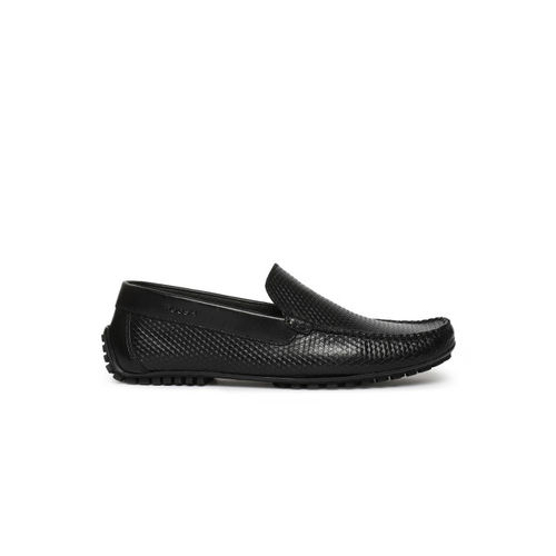 Ruosh Men Black Leather Driving Shoes