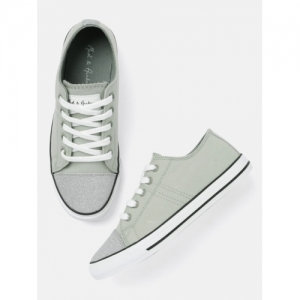 Mast & Harbour Grey Canvas Solid Sneakers