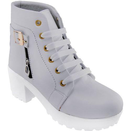 Longwalk Perfect Stylish Girls High Ankel Boots For Women(Grey)