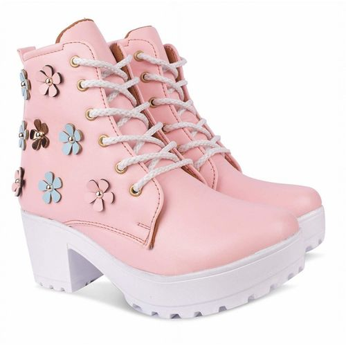 Zapatoz High Ankle Length Lace-Up Boots Boots For Women(Pink)