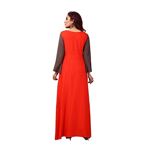any kids Brown Long Gown High Low Layred Front Slit Kurta for Women