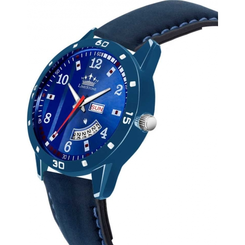 LimeStone LS2833 Day & date Functioning All Blue leather Strap Quartz Mechanism Analog Watch - For Men