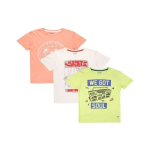 Palm Tree by Gini & Jony Kids Multicolor Printed T-Shirt (Pack Of 3)