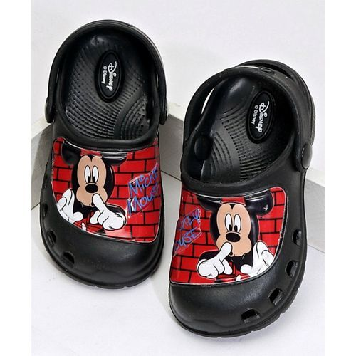 Cute Walk by Babyhug Clogs With Back Strap Mickey Mouse Design - Black