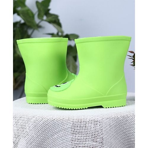 Cute Walk by Babyhug Gumboots Animal Face Design - Light Green