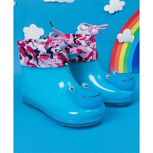 Little Maira Frog Face Rain Boots - Blue
