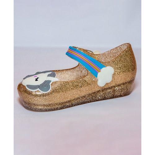 Little Maira Glitter Finish Unicorn Rain Shoes - Golden