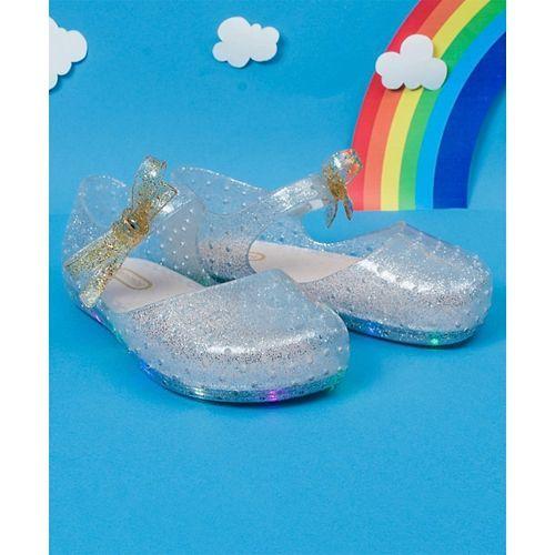 Little Maira LED Glitter Finish Rain Shoes - Silver