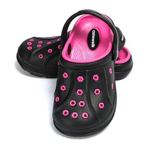 Cute Walk by Babyhug Clogs With Back Strap - Black Fuchsia Pink