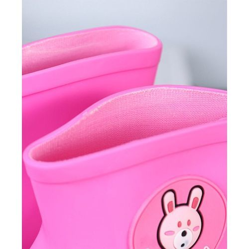 Cute Walk by Babyhug Cutewalk Solid Color Gumboots Bear Patch - Pink