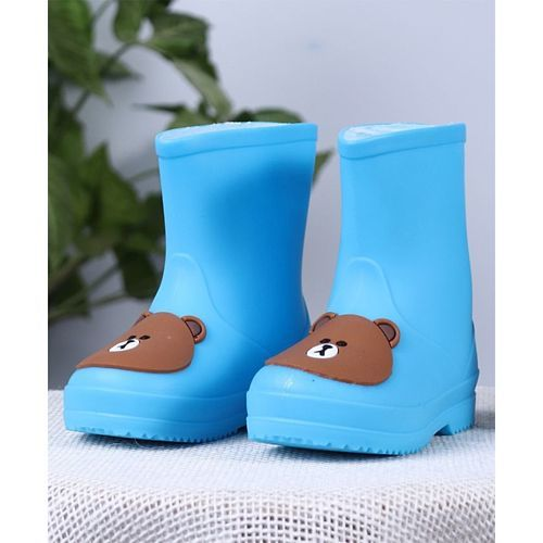 Cute Walk by Babyhug Gumboots Bear Face Design - Blue