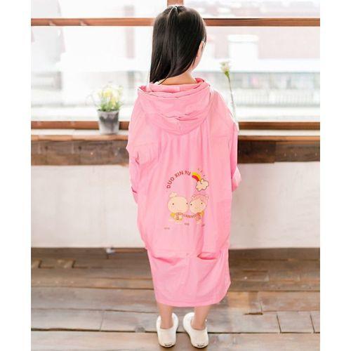 Pre Order - Awabox Full Sleeves Hearts & Cartoon Couple Print Hooded Raincoat - Pink