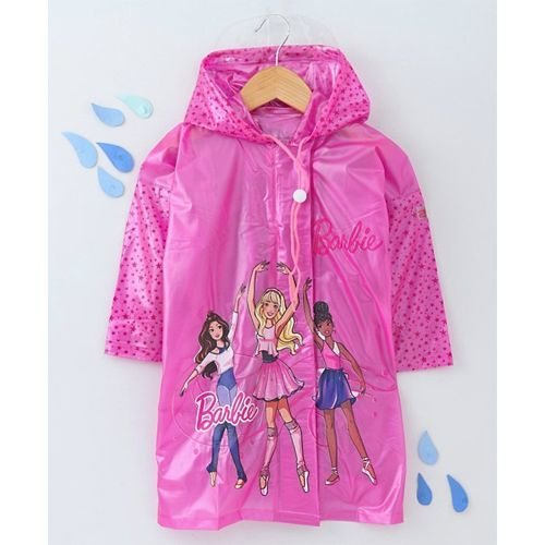 Babyhug Full Sleeves Hooded Raincoat With Pouch Barbie Print - Pink