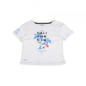 Palm Tree by Gini & Jony Kids Off White Printed T-Shirt