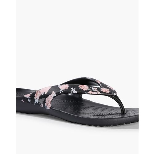 CROCS Floral Print Thong-Strap Flip-Flops