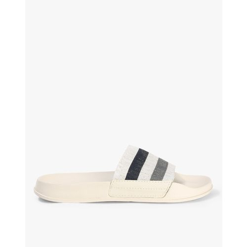 UNITED COLORS OF BENETTON Striped Sliders with Signature Branding