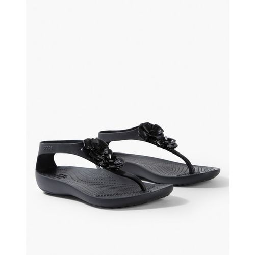 CROCS Serena Embellished Slip-On Flip-Flops with Thong-Strap